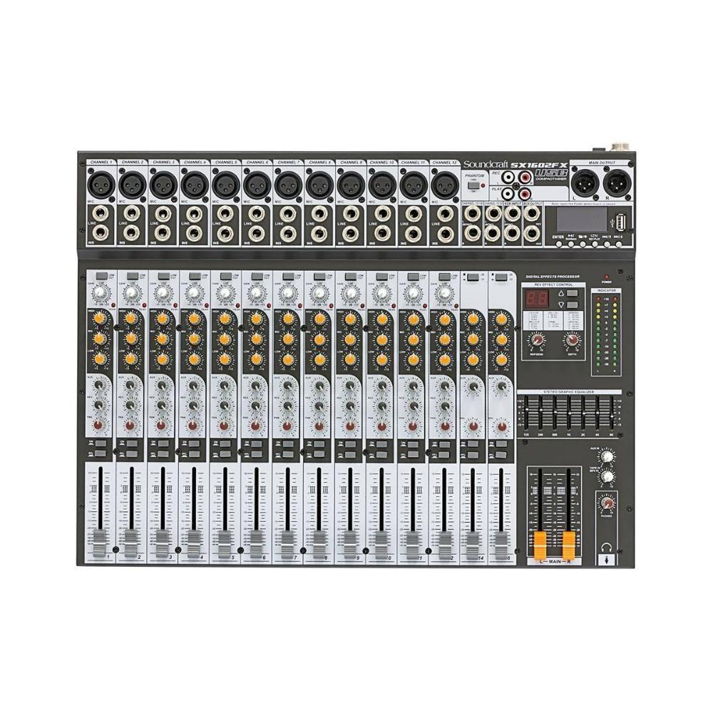 Mesa de Som Mixer Soundcraft SX1602FX 16 Canais